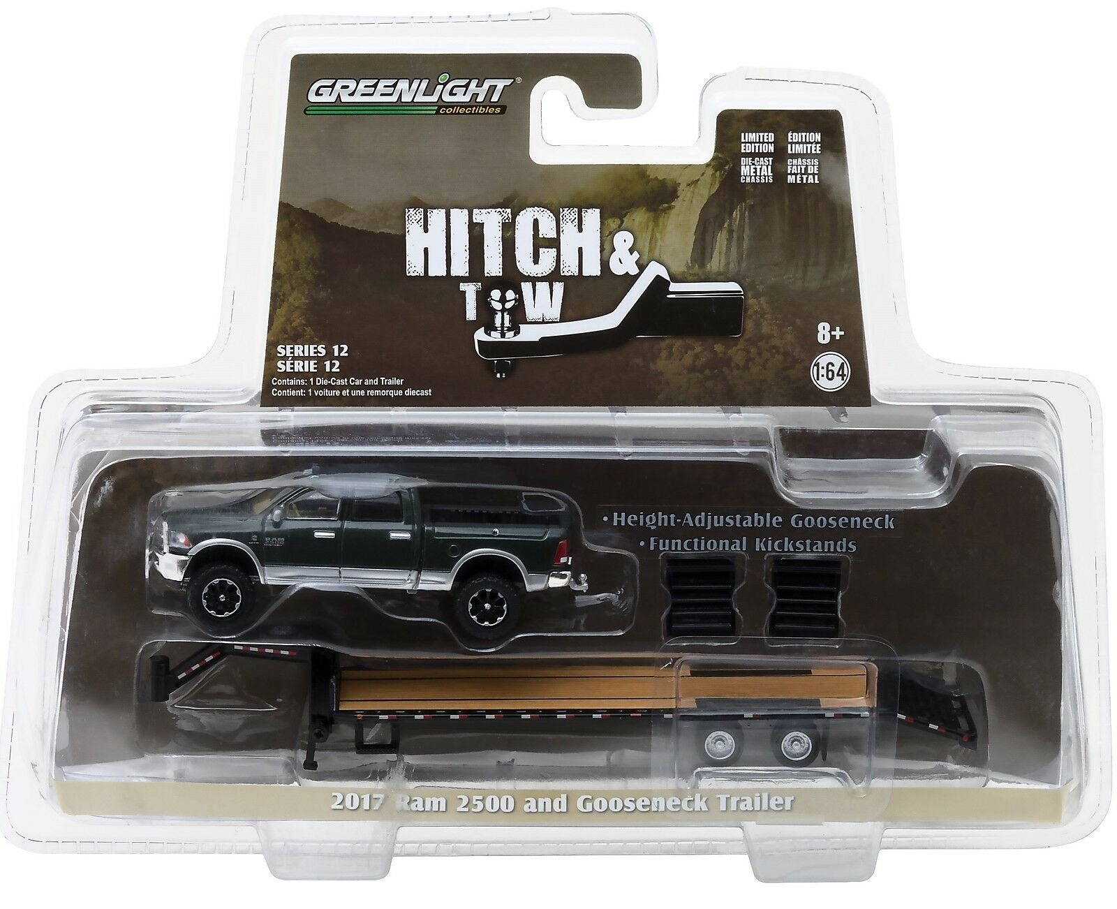 1 64 Greenlight *hitch & Tow 12* Green 2017 RAM 2500 W/flatbed ...