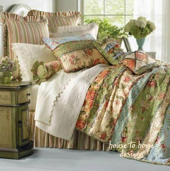 Garden Dream 7pc Queen Quilt Set Country Cottage Rag Patch Floral ... : full quilt sets - Adamdwight.com
