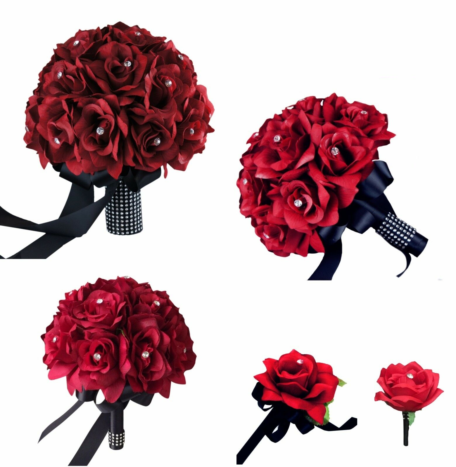 15pc Wedding Package Apple Red Silk Roses Bouquet Boutonniere