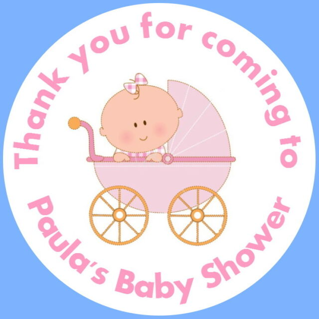 24 personalised glosspink baby pram its a girl shower christening stickers