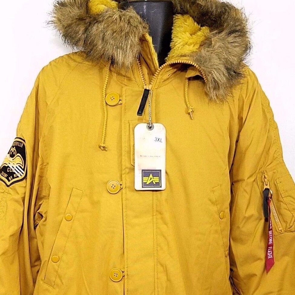 Alpha Industries Mens Parka Jacket Bomber Faux Fur Altitude ...
