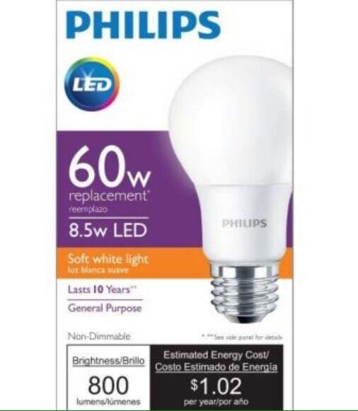 6 Philips Soft White LED Light Bulbs A19 60 Watt Equivalent 10 Year 2700k |  EBay