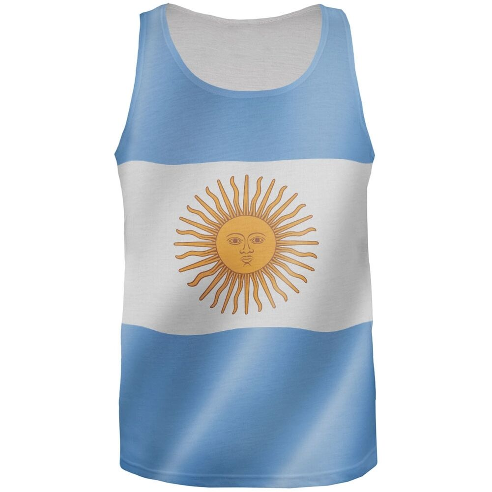 World Cup Argentina Flag All Over Adult Tank Top Lg Ebay Fashion Big Size T Shirt 2xl Picture 1 Of