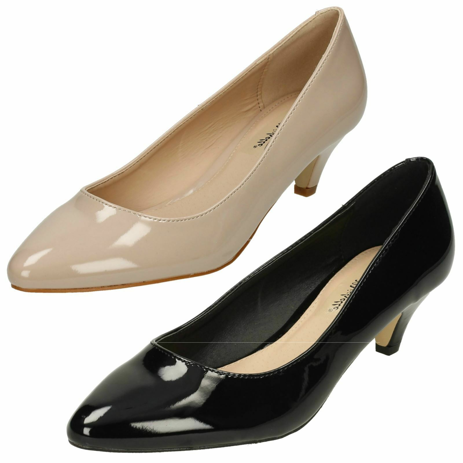 Ladies Anne Michelle Black Patent Court Shoes - 5657/F9964