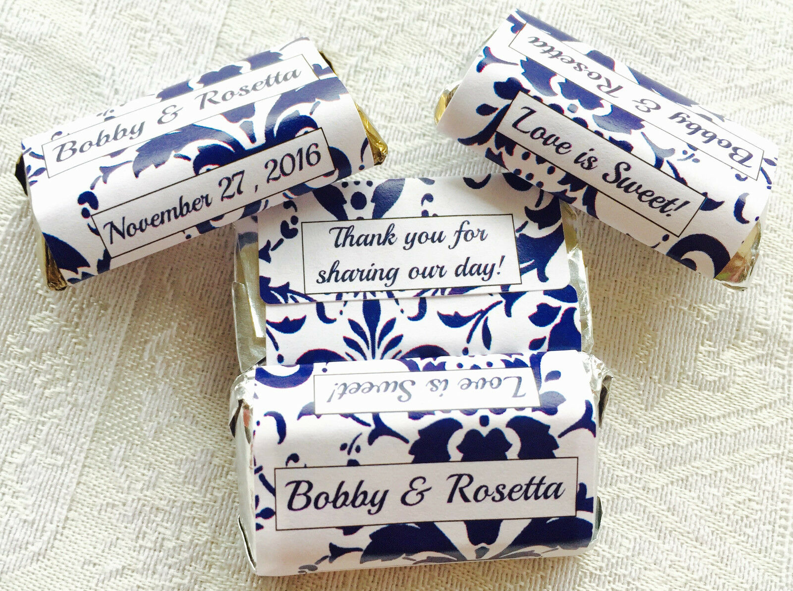 180 Navy Blue Damask Wedding Candy Wrappers/stickers Favors 4 ...