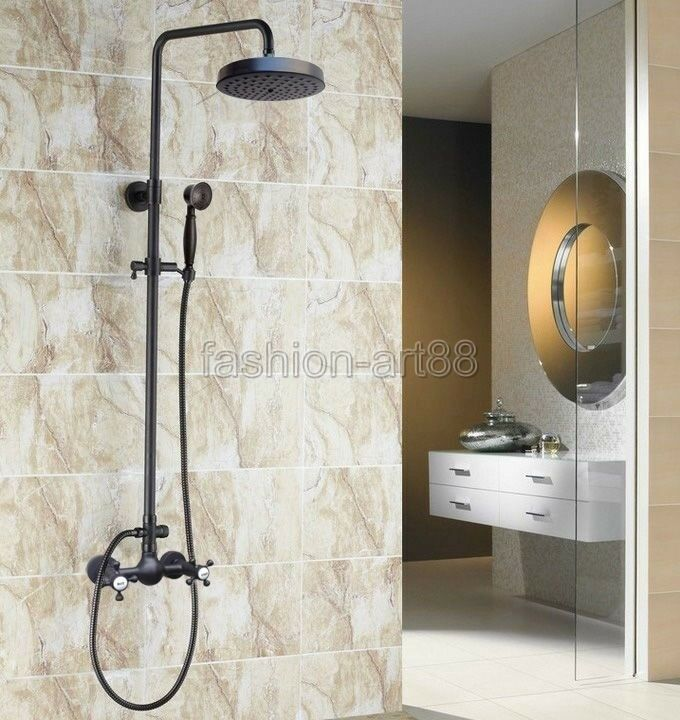 Black Oil Rubbed Brass Wall Mounted Bathroom Rainfall Shower Faucet ...