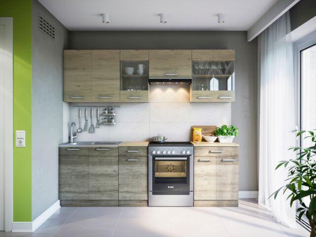 Küche martha sonoma 240 cm küchenzeile küchenblock einbauküche komplett küchen