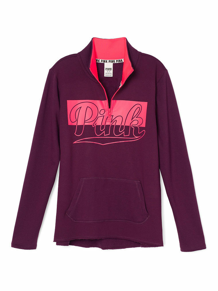 Victoria's Secret Pink Fleece High & Low Half Zip Sweater Large ...