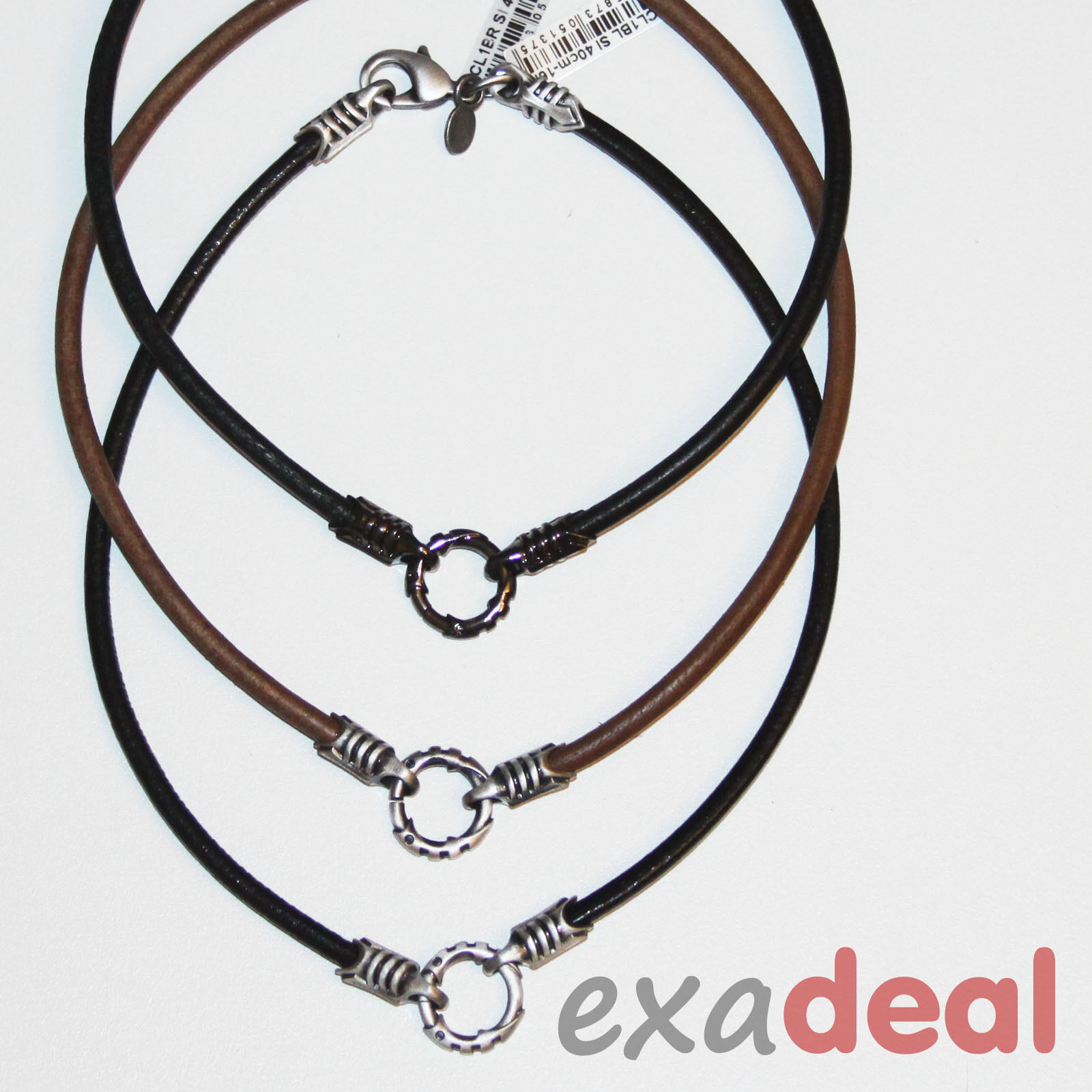 necklace clasps amazon jewelry steel brown com stainless cord with inches leather dp black