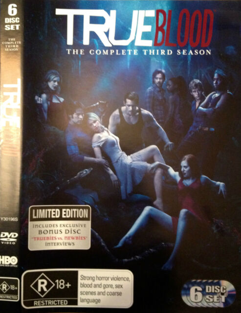 TRUE BLOOD: The Complete Third Season (3) (6 Disc LIMITED EDITION DVD Set) -VGC-