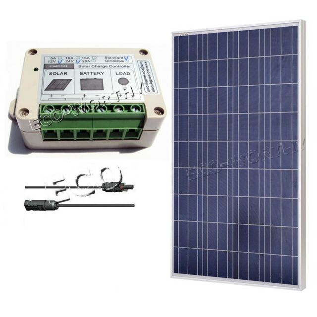 160W Solar Panel with Solar Charger Controller & 24cm Cable for 12V Solar System