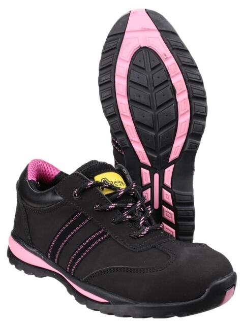 Amblers Safety Piel Negra De Mujer Zapatillas VARIOS TALLA fs47