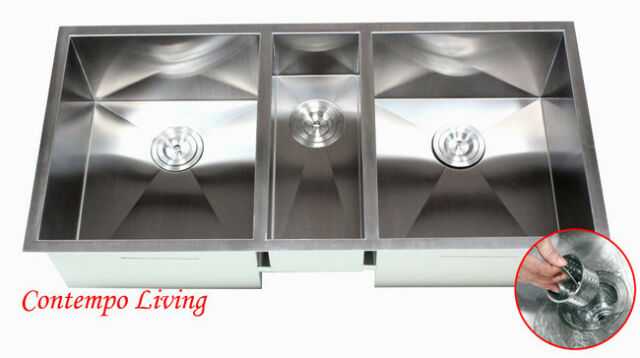 42 Inch Triple Bowl Undermount Zero Radius Kitchen Sink