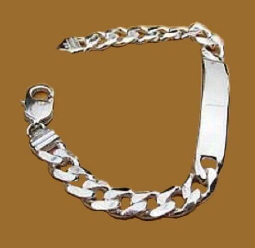 .925 Sterling Silver Cuban Link ID Bracelet Free Engrave Sz 7-9