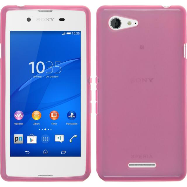 Silicone Case for Sony Xperia E3 transparent pink + protective foils