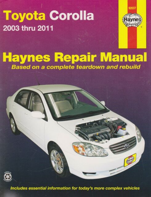 haynes repair manual toyota corolla 2003 thru 2011 by john haynes rh ebay com Subaru Owners Manual Owners Manual Vehicle Glove Box