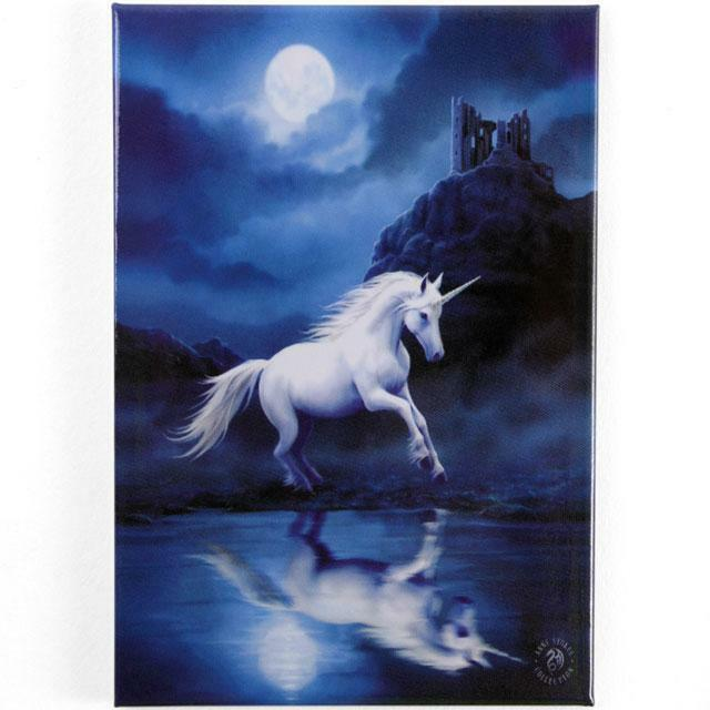 UNICORN UNDER THE MOON  FRIDGE MAGNET BY ANNE STOKES