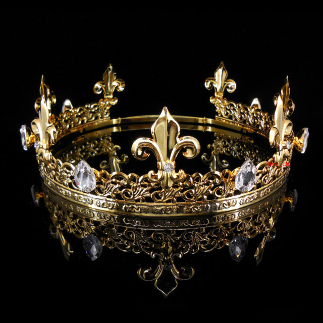 mens imperial medieval fleur de lis gold king crown 19cm