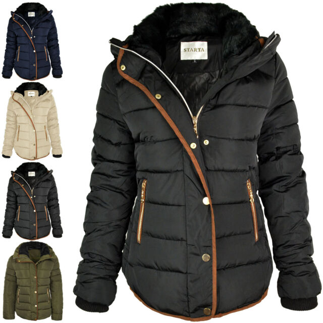 Womens Ladies Quilted Winter Coat Puffer Fur Collar Hooded Jacket ... : ladies quilted jacket sale - Adamdwight.com
