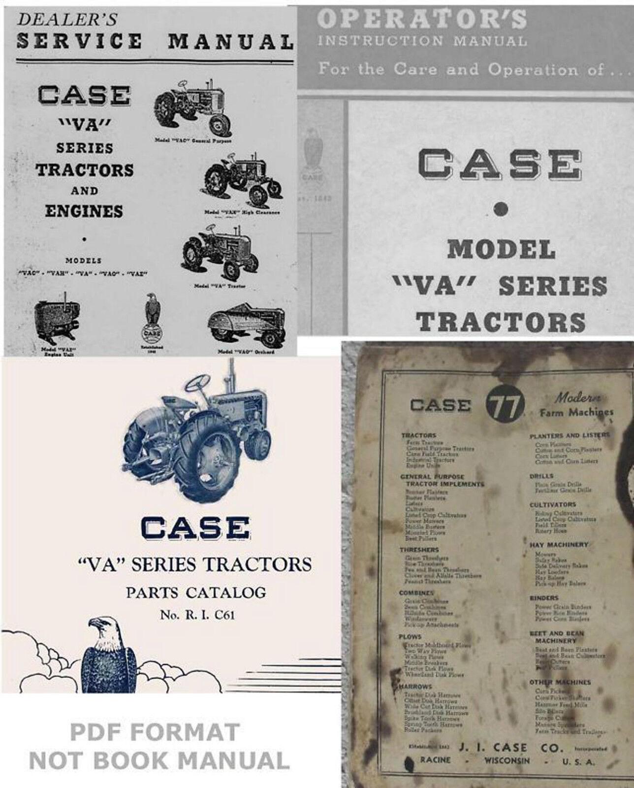 4 manuals case va vac vao vae vah tractors service operator s parts rh ebay com 1944 Case VAC Tractor 1947 Case VAC Tractor