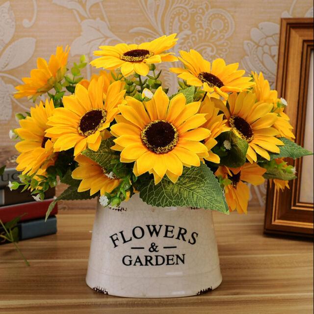 7 head fake sunflower artificial silk flower bouquet floral decor l new 7 head fake sunflower artificial silk flower bouquet floral decor rzus mightylinksfo