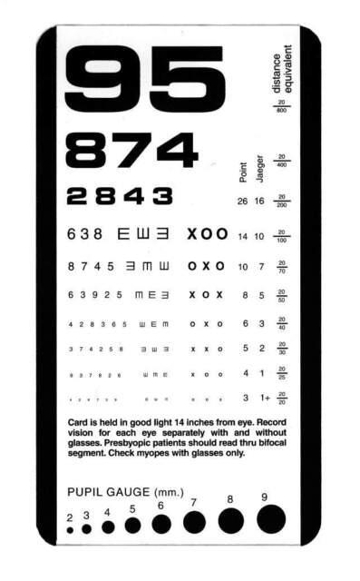 Snellen Plastic Eye Test Chart Matte Pocket Size Ebay