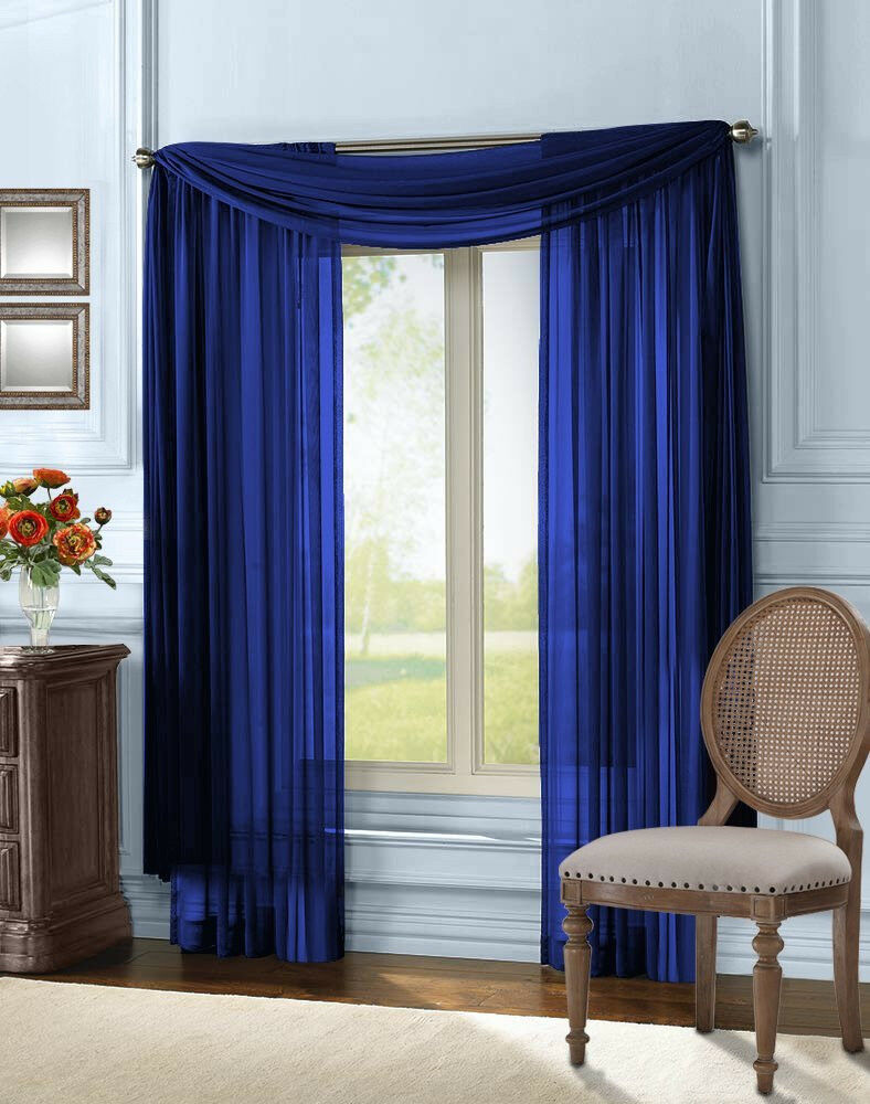 "Empire Home Solid Sheer Voile Scarf Valance 216"" Long Window ..."