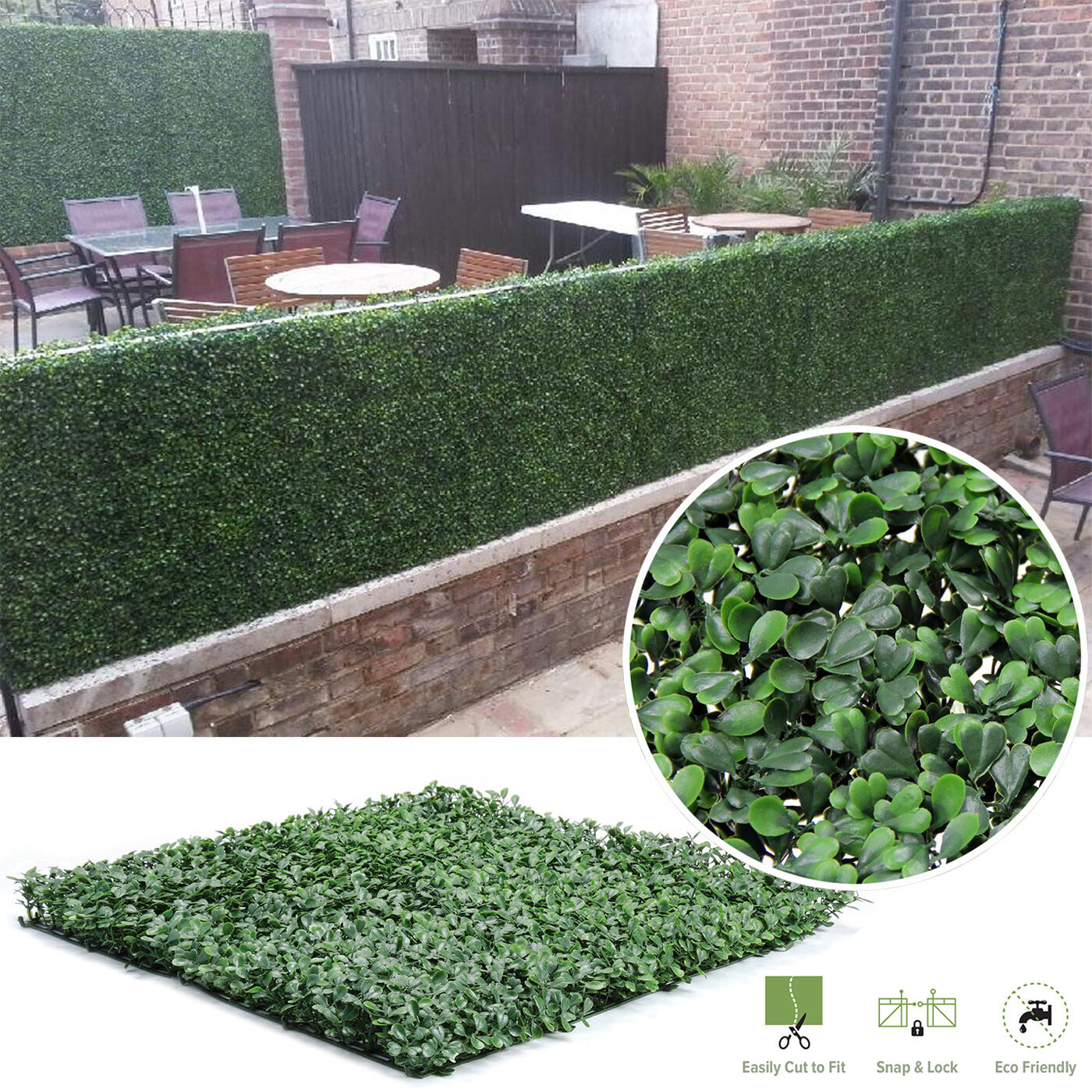 Artificial Boxwood Hedge Privacy Fence Screen Greenery Panels Mat ...