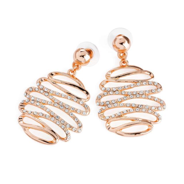 Light Rose Gold Coloured Crystal Drop Earrings Las Fashion Jewellery