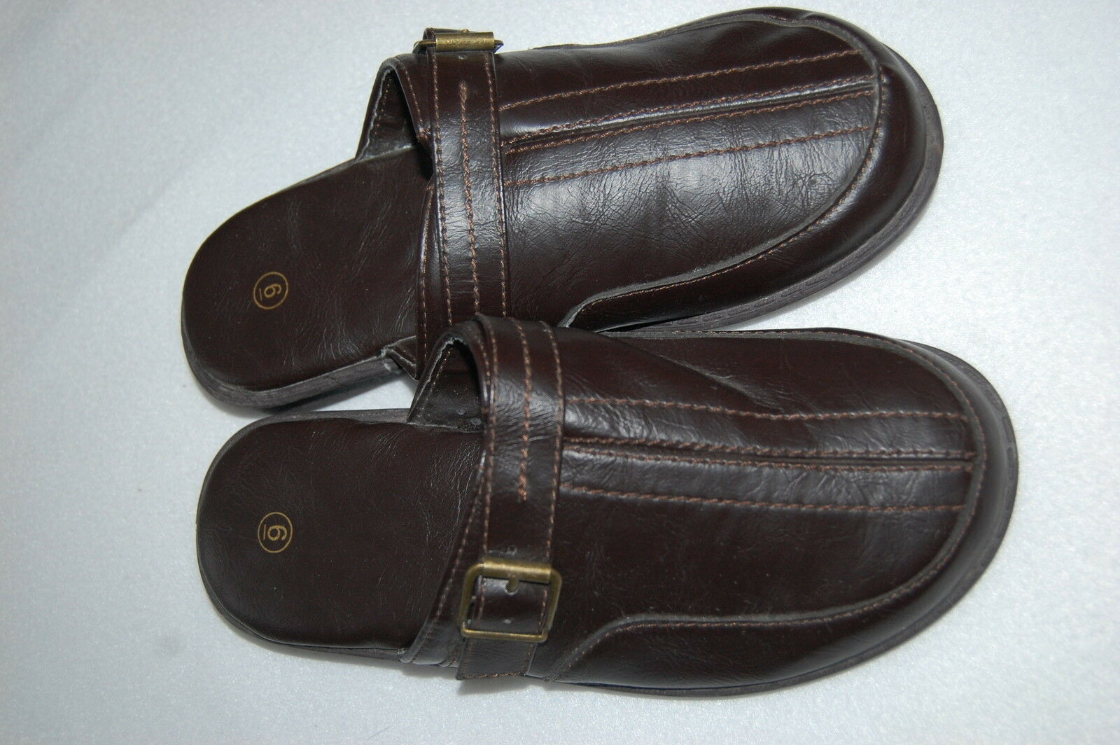 Womens Shoes BROWN SLIP ON CLOGS Mock Leather ADJ BUCKLE Padded Insole SIZE 6