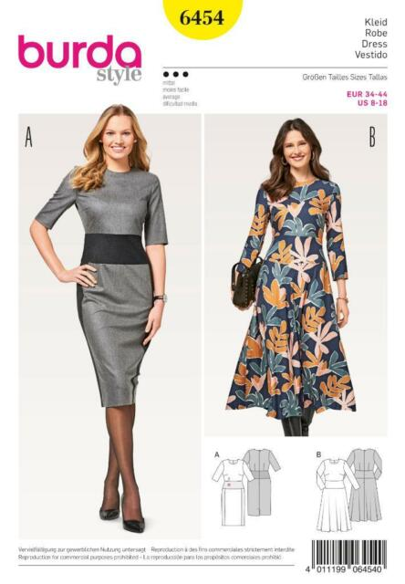 Burda Sewing Pattern Women\'s Dresses Size 8 - 18 6454 | eBay