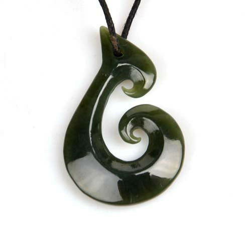 Zealand maori style natural nephrite jade fish hook pendant ebay mozeypictures Image collections