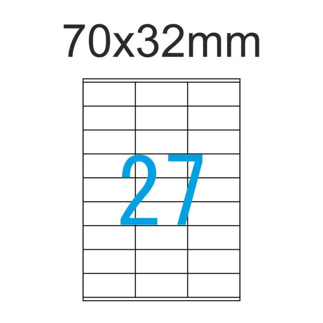 Klebe Etiketten 70 x 32 mm 675 Stück ( 25 A4 Blätter ) 70x32 Luma Etikett