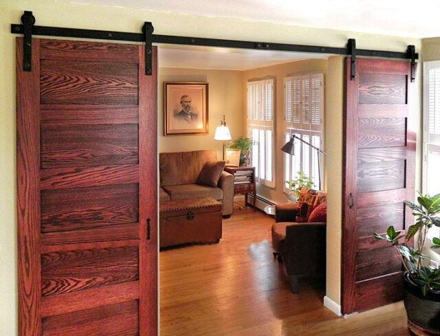 13ft Bent Straight Black Double Sliding Barn Wood Closet Door Track