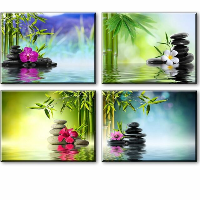 Zen Wall Art, Spa Bamboo Paintings On Canvas For Bathroom, Massage Orchid  And To