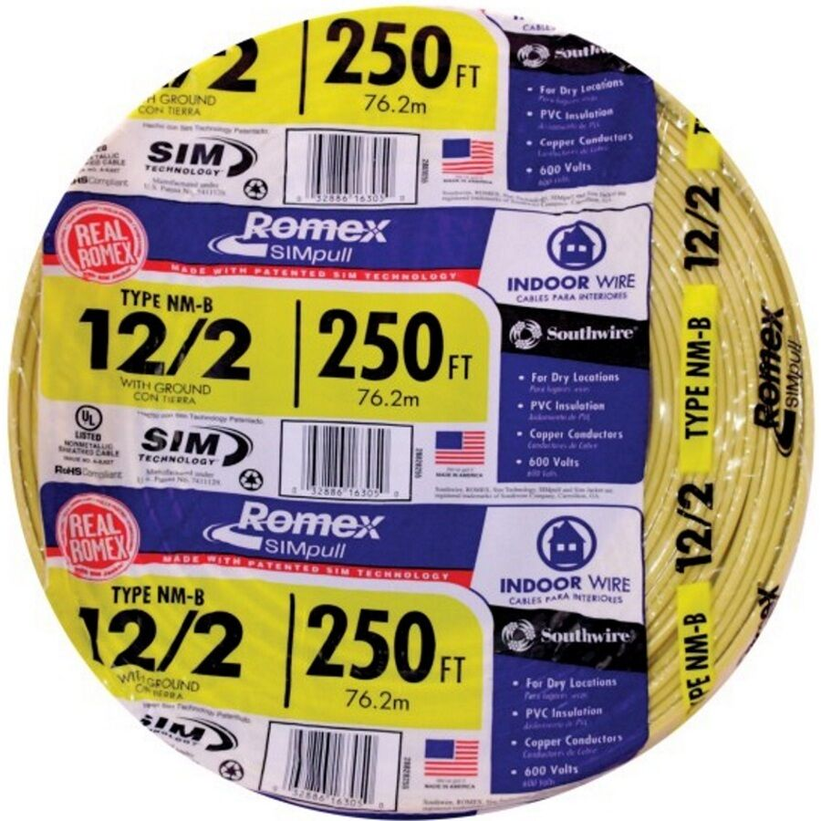 Southwire Wire Cable 250 Ft. 12/2 Solid ROMEX SIMPULL CU Nm-b W/g ...