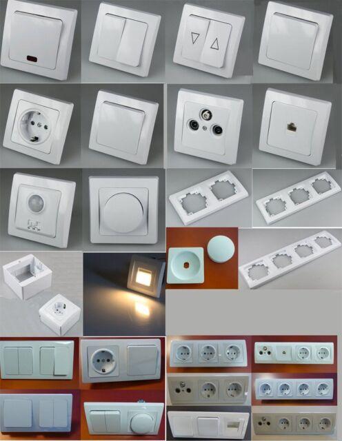 Schalter Steckdosen Serie Dimmer LED Lampe Bewegungsmelder REINWEISS Kombi-#2233