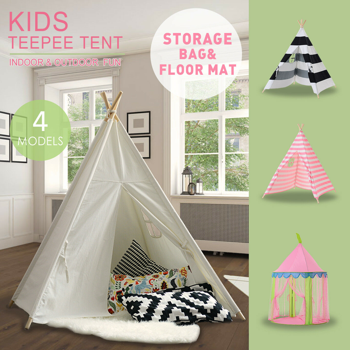 Pink Princess Girl Teepee Cotton Canvas Kids Play Tent Toy