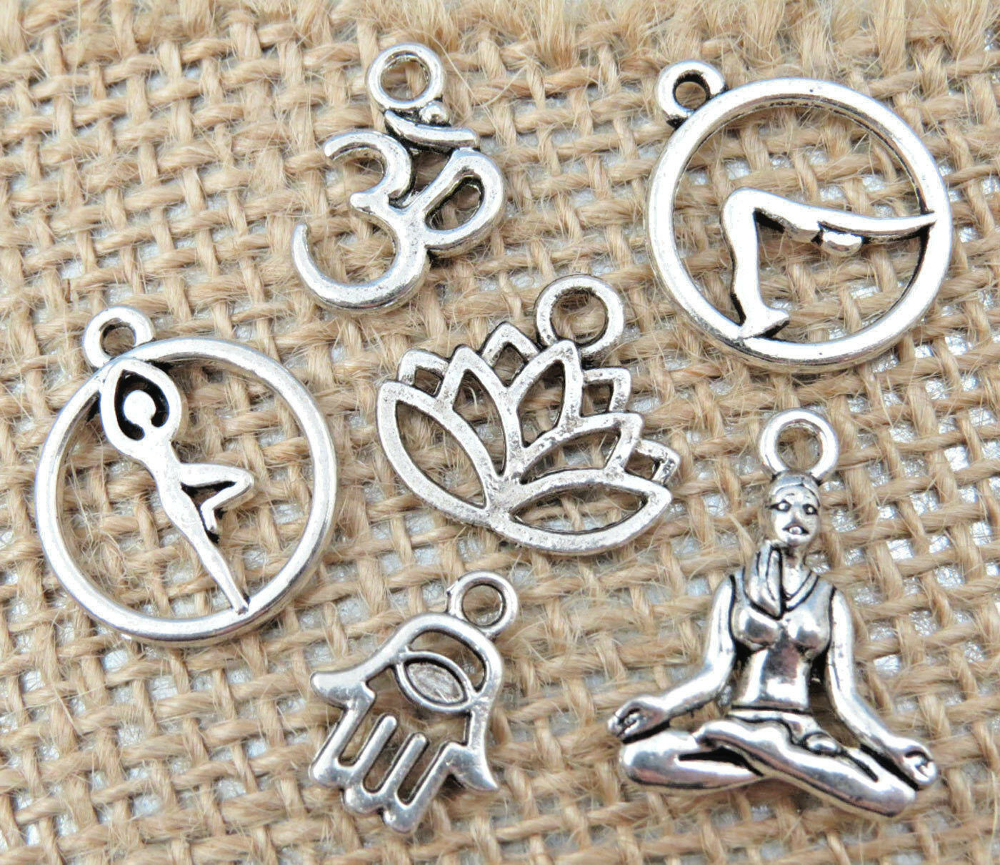 6 yoga tibetan silver charms collection set lot om lotus flower tree picture 1 of 4 izmirmasajfo