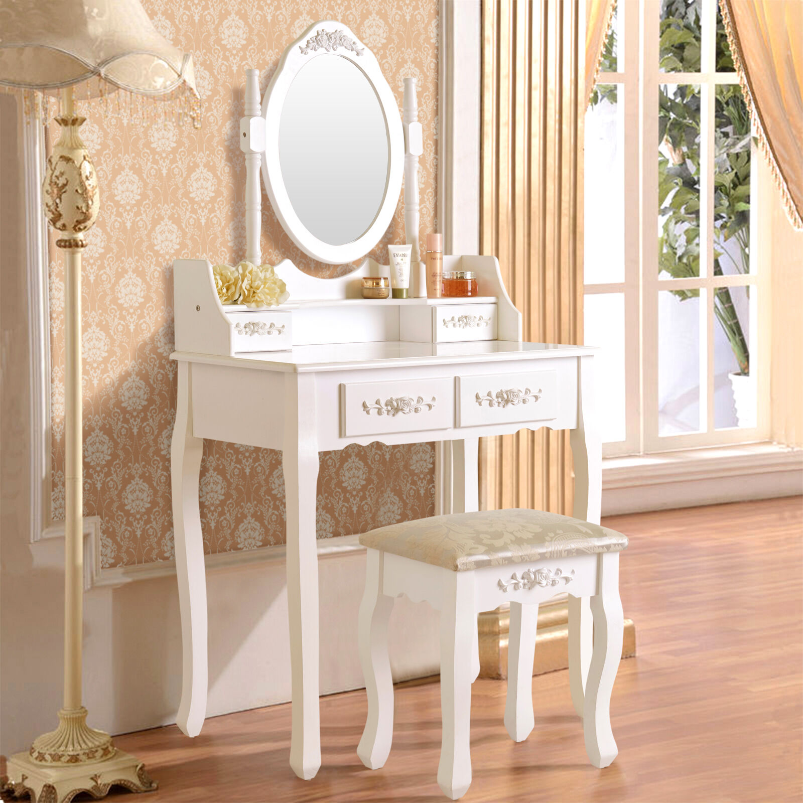 White Vanity Makeup Dressing Table Set With Stool 4 Drawer U0026 Mirror Wood  Desk
