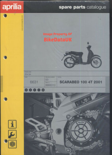 nos genuine aprilia scarabeo 100 4t 2001 parts list catalog book rh ebay co uk Aprilia Scarabeo 100 Parts Aprilia Scarabeo 100 Review