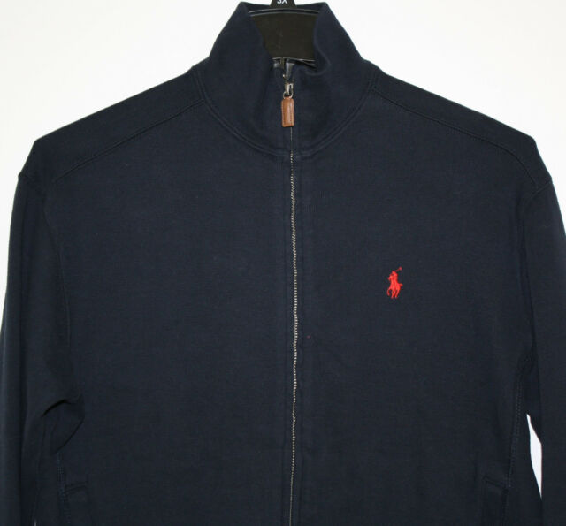 Polo Ralph Lauren Sweater Navy Blue Cotton Full Zip Knit red Pony Logo NWTS