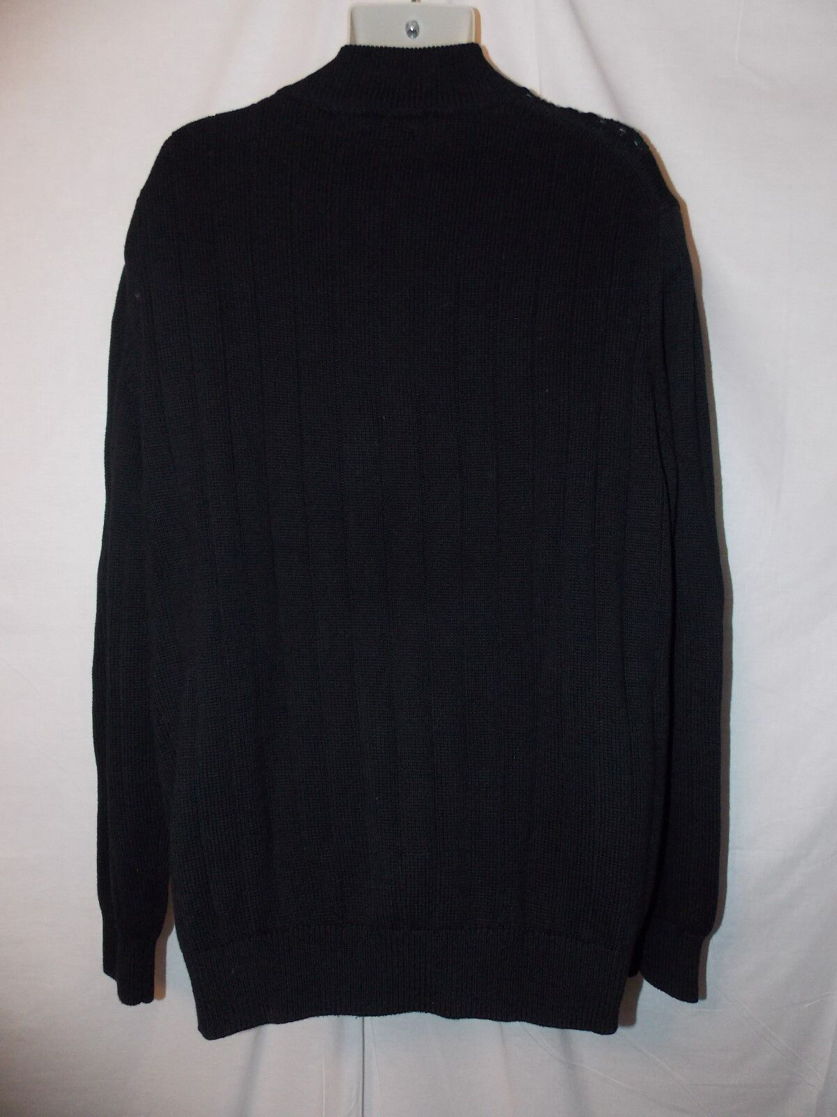 IZOD LT Mens Heavy 1/4 Zip Neck Cotton Cable Knit Black Sweater ...