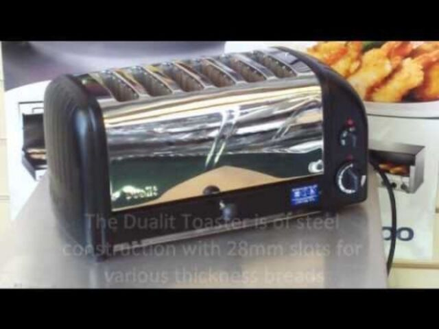DUALIT 6 SLICE MANUAL POP UP TOASTER BLACK CHROME 208 VOLT