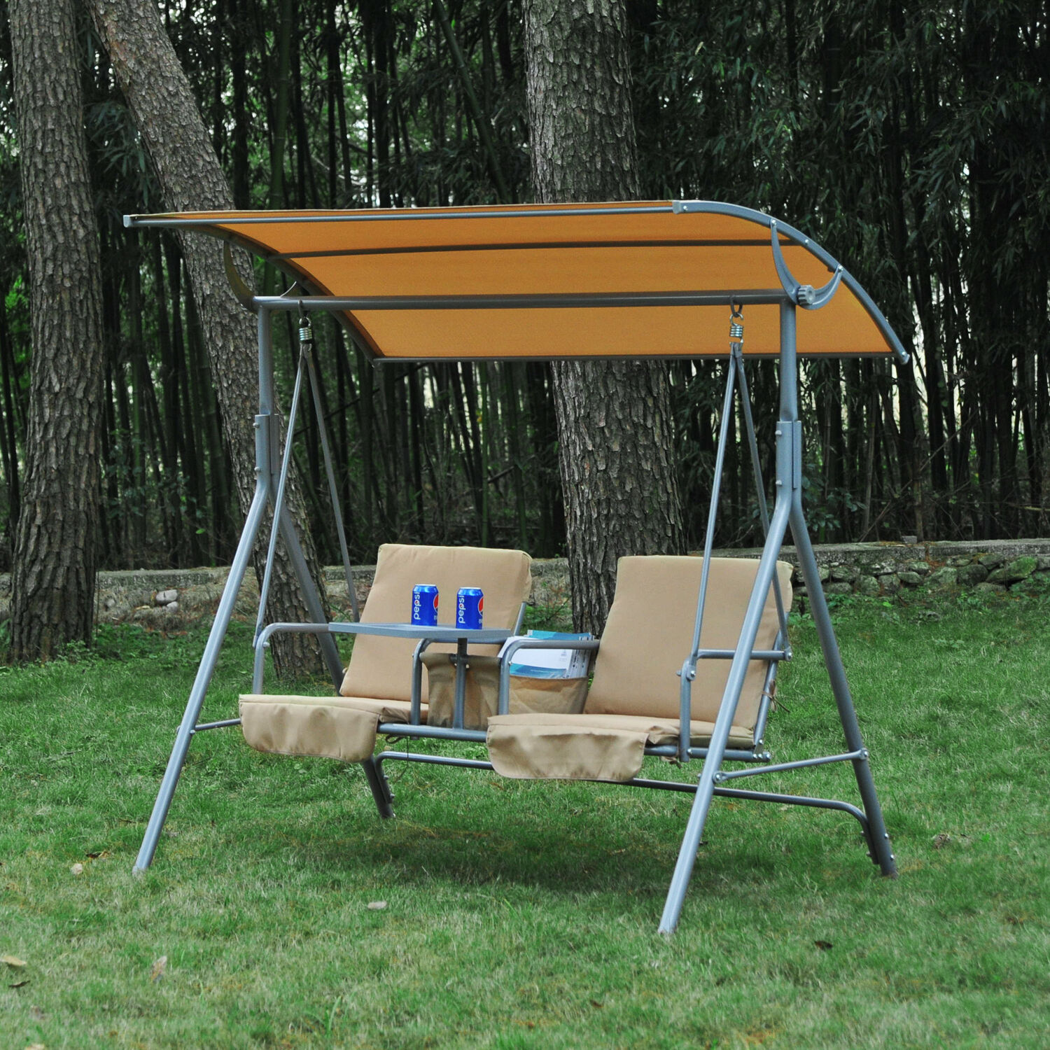Outdoor Swing Chair Canopy Patio Garden Hanging 2 Person Yard Porch