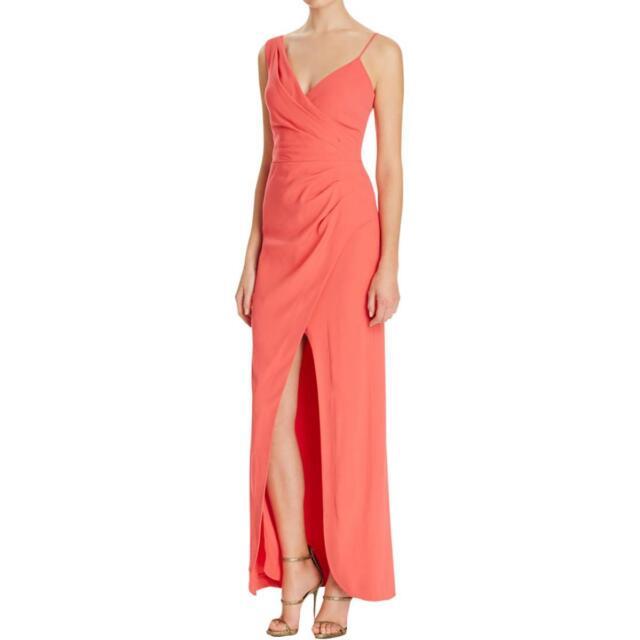 Nicole Miller Pink Crepe V-neck Ruched Wrap Sheath Formal Gown 2   eBay