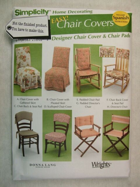 Simplicity Sewing Pattern 5952 Chair Covers Pads Slipcovers OOP | eBay