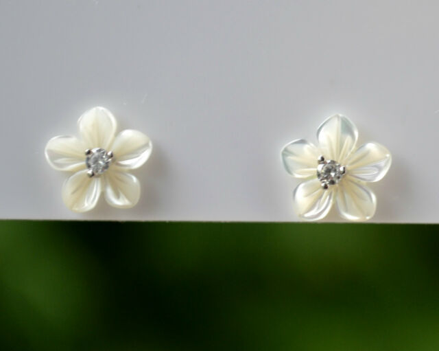Sterling Silver 925 White Mother Of Pearl Flower Studs Earrings