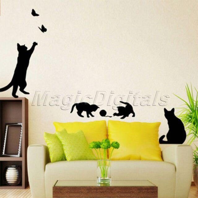Art Wall Stickers Cats Play Butterfly Vinyl Decal Mural Wallpaper ...