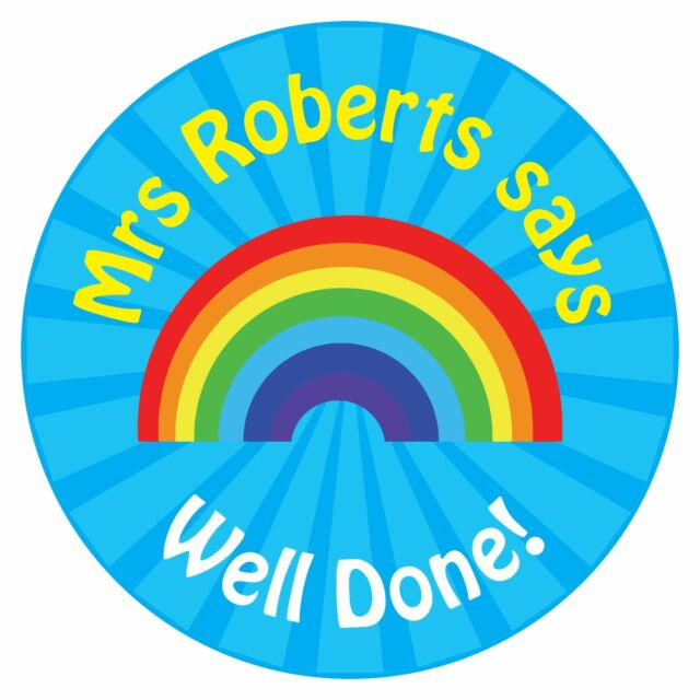 80 personalised teacher reward stickers for pupils blue rainbow well done